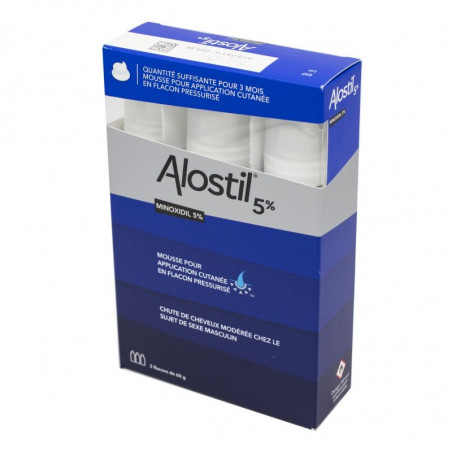 Alostil 5% Minoxidil Mousse 3 Flacons de 60 gr