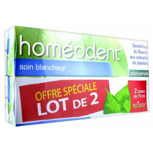 HOMEODENT DENTIFRICE SOIN BLANCHEUR GOUT CHLOROPHYLLE 2X75ML