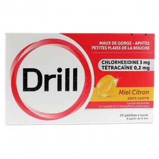 Drill miel citron Sans Sucre pastilles par 24 mal de gorge