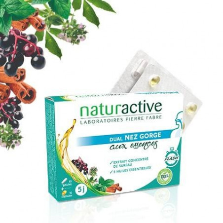 Naturactive Dual Nez Gorge aux essences 10 gélules + 10 capsules