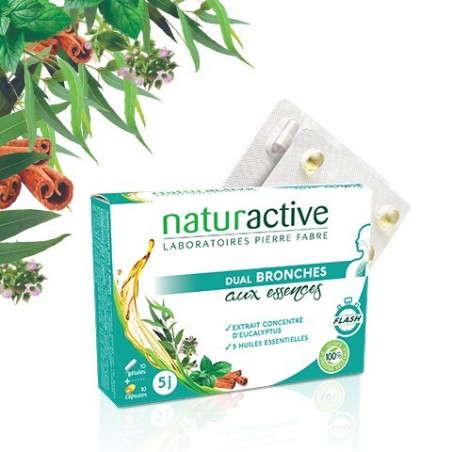 Naturactive Dual Bronches aux essences 10 gélules + 10 capsules