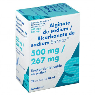Alginate de sodium 500 mg/ Bicarbonate de Sodium 267 mg 24 sachets de 10 ml Sandoz