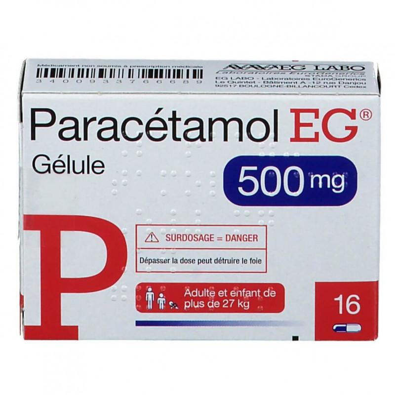 Paracétamol EG 500 mg 16 gélules