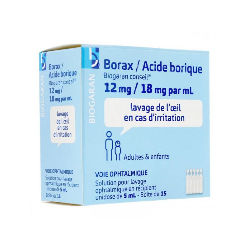 Borax / Acide borique 15 unidoses ophtalmiques Biogaran Conseil