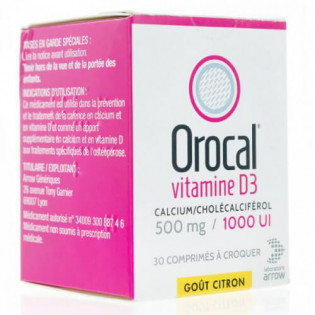 Orocal Vitamine D3 500 mg/1000 UI 30 comprimés à croquer
