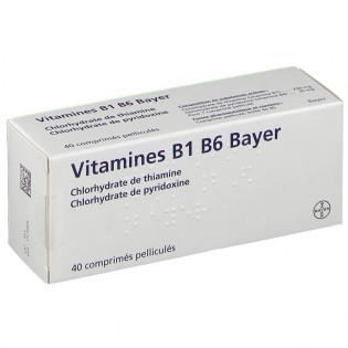 Vitamines B1 B6 Bayer 40 Comprimés Pelliculés