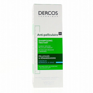Vichy Dercos Shampooing Traitant Anti-Pelliculaire DS Cheveux Nomaux à Gras 200 ml