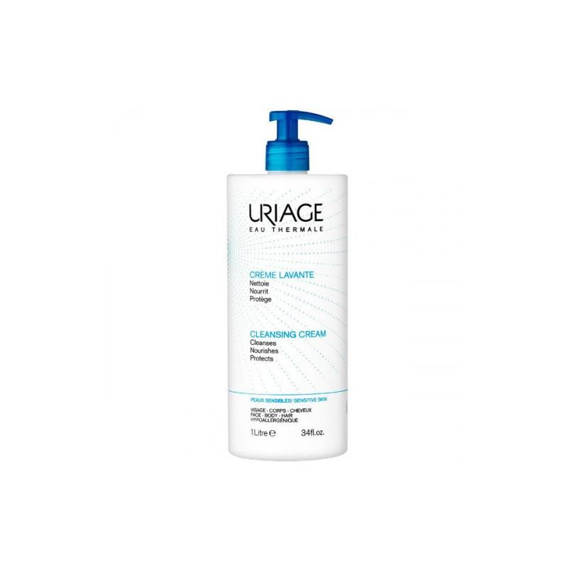 Uriage Crème lavante surgras moussant sans savon visage corps cheveux - Peaux sensibles - Flacon 1000ML