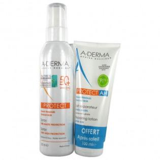 A-Derma Protect Spray Très Haute Protection SPF50+ 200 ml + AH Lait Réparateur Après-Soleil 100 ml Offert