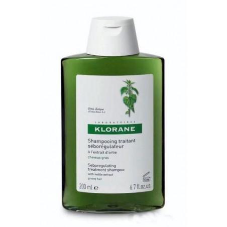 Klorane Shampooing Traitant Séborégulateur à l'`extrait d`Ortie. Flacon de 200ml