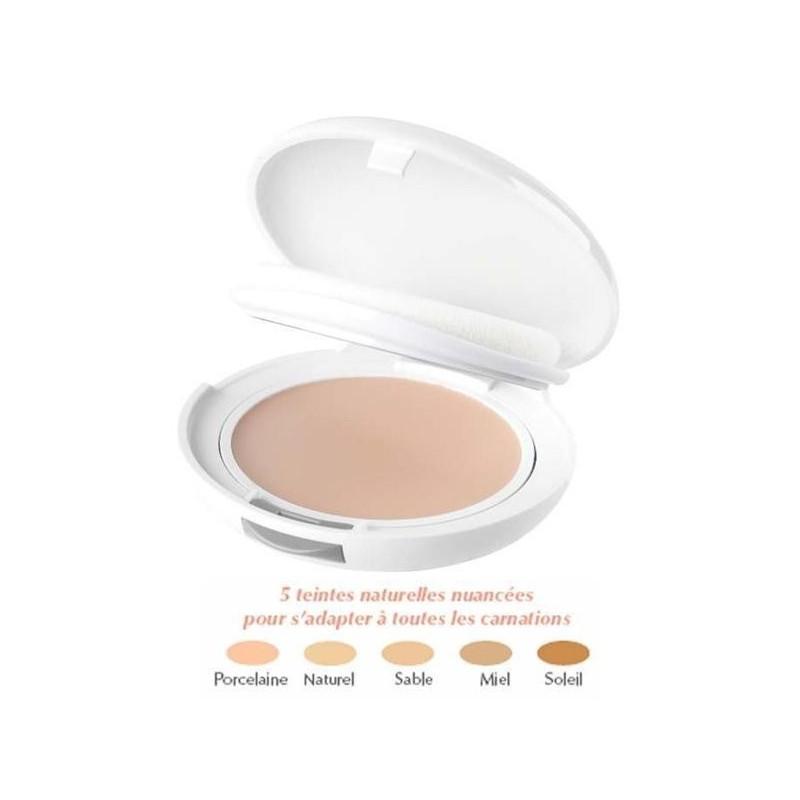 Avène Couvrance Crème de teint compacte Texture Confort SOLEIL. Poudrier 9.5g miroir