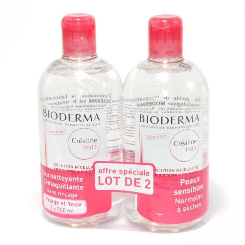 Bioderma Créaline H2O Solution Micellaire Nettoyante Démaquillante - Peaux sensibles Lot de 2x500ML