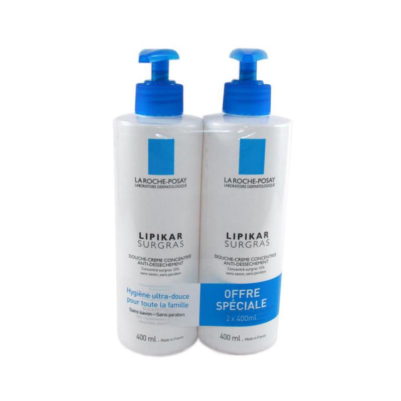 OFFRE SPECIALE La Roche Posay LIPIKAR surgras Douche Crème Concentrée anti-dessèchement peau sèche. 2 Flacons pompe de 400ML